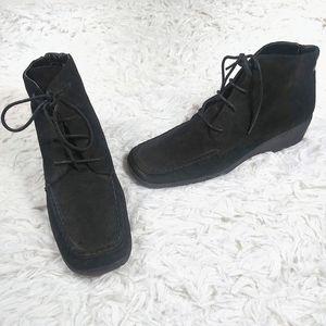 Etienne Aigner - black suede lace-up ankle oxfords